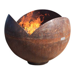 John T. Unger - The Firefly Sculptural Firebowl, 30 Inch Diameter - The Firefly is a deep, large bowl that shields fire from wind within its three petals while providing an inviting space to gaze into the fire. Joining the cut off from the King Isosceles to the form of a Big Bowl O' Zen, the Firefly resembles a large flower bud or seed pod.