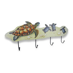 Zeckos - Sea Turtle Family 4-Peg Wooden Wall Hook - This beautiful decorative wall hook features a mother sea turtle watching over her three newly hatched babies making their way across the sandy beach amidst the sand dollars and sea shells and is perfect to hang on the walls of nautical themed homes. This wooden wall hook features four metal hooks to hang robes and towels on in a bathroom, hang belts and purses in a bedroom, or keys and leashes in an entryway and won't take up too much valuable space at 23 1/2 inches long, 8 1/4 inches high and 1 3/4 inches deep and easily hangs using two nails or screws via the keyhole hangers on the back. Whatever room this is displayed in, it's sure to be admired by all who view it, and would make a fantastic gift for a turtle loving friend or family member.
