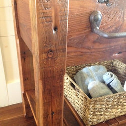 Rustic Vanities and Bathroom Accessories - Vanity made from reclaimed old growth barn wood with reclaimed iron towel bar from late 1800's rail car.
