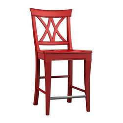 Broyhill Furniture - V-BACK COUNTER STOOL (Set of 2) - 5214-301 - Rouge Red Finish;