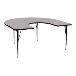Flash Furniture - Flash Furniture 60 x 66 Horseshoe Activity Table w/ Grey Thermal Fused Laminate - Flash Furniture's XU-A6066-HRSE-GY-T-A-GG warp resistant thermal fused laminate horseshoe activity table features a 1.125'' top and a thermal fused laminate work surface. This Horseshoe Shaped Laminate activity table provides a durable work surface that is versatile enough for everything from computers to projects or group lessons. Sturdy steel legs adjust from 21.125'' - 30.125'' high and have a brilliant chrome finish. The 1.125'' thick particle board top also incorporates a protective underside backing sheet to prevent moisture absorption and warping. T-mold edge banding provides a durable and attractive edging enhancement that is certain to withstand the rigors of any classroom environment. Glides prevent wobbling and will keep your work surface level. This model is featured in a beautiful Grey finish that will enhance the beauty of any school setting. [XU-A6066-HRSE-GY-T-A-GG]