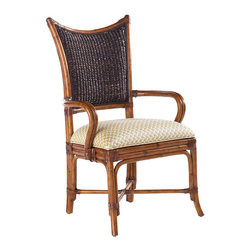 Frontgate - Mangrove Arm Chair - Rich natural brown tone of abaca - a plant native to the Philippines - is complemented by leather-wrapped bent rattan in a warm Plantation brown finish and Macadamia upholstery on the tight seat. Indigenous materials offer island character. Arrives assembled. Coordinates with other items from our Tommy Bahama Island Estate collection. Infuse your dining room with refined Caribbean flavor. Our Mangrove Arm Chair features a leather-wrapped bent rattan frame supporting a woven abaca back. The intricate weave and rich natural tone of this indigenous plant is highlighted by basket weave-patterned upholstery on the seat.  .  .  .  .