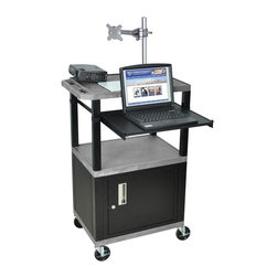 H. Wilson - Tuffy Pullout Shelf Presentation Cart w Black Legs in Gray - Includes lock with a set of two keys, front pullout laptop shelf and three outlet 15 ft. cord. Monitor mount features 270 degree swivel, 180 degree tilt and adjustable height. Recessed chrome handle. 20 gauge steel cabinet. Recessed chrome handle. Locking steel cabinet panels fit firmly into the specially molded leg slots. Cable management access in back cabinet panel. Three shelves. 0.25 in. safety retaining lip and a raised texture surface to enhance product placement and ensure minimal sliding. 4 in. silent roll. Full swivel ball. 1.5 in. square black colored legs that will not chip, warp, crack, rust or peel. 4 in. heavy duty casters, two with locking brakes. High density polyethylene structural foam injection molded plastic shelves. Cord with cord management wrap and three cable management clips. Electrical attachment recessed to insure easy passage through doorways. Shelves and legs are made from recycled material. UL listed electrical assembly. Made from polyethylene and plastic. Made in USA. Minimal assembly required. Pullout shelf: 19.63 in. L x 15.63 in. W. Shelves: 24 in. L x 18 in. W x 1.5 in. H. Overall: 24 in. L x 18 in. W x 42.5 in. H. Warranty
