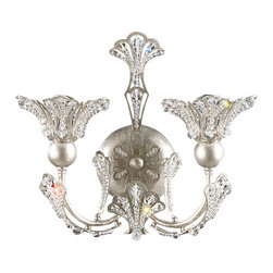 Schonbek Lighting 7855-48S Rivendell Antique Silver Wall Sconce - 2 Bulbs, Bulb Type: 40 Watt Incandescent; Product made-to-order, 6-8 week lead time