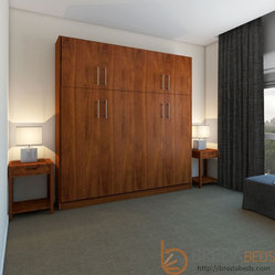 Horizontal Urban Murphy Bed with a top hutch by BredaBeds