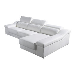 VIG Furniture - T136C White Top Grain Italian Leather Sectional Sofa With Adjustable Headrests - The T136C sectional sofa is a great choice for any living room that needs a touch of modern design. This sectional sofa comes upholstered in a beautiful white top grain Italian leather in the front where your body touches. Skillfully chosen match material is used on the back and sides where contact is minimal. High density foam is placed within the cushions for added comfort. Only solid wood products were used when crafting the frame making it very durable. The sectional features adjustable headrests that add an extra touch of relaxation.