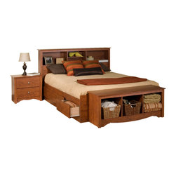 Prepac Furniture - Prepac Monterey 4 Pc Double Size Bedroom Set in Cherry (Bed, Two Nightstands and - Stylish Monterey 4 Pcs Double Size Bedroom Set in Cherry (Bed, Two Nightstands and Dresser) - Prepac Furniture has six spacious drawers (three per side for each occupant) which are ideal for storing bed linens and clothes. Imagine, 6 large extra deep drawers in your bedroom even before you add in your night tables or any chest or dressers! That's what you get with this practically designed, functional, attractive storage bed.    Bedroom Set includes Double Size Bed with Headboard, two nightstands and Dresser.  Chest could be added to complete the set.    Features: