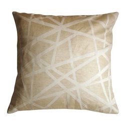 Pillow Decor - Pillow Decor - Criss Cross Stripes Cream Throw Pillow - This contemporary criss cross pattern throw pillow in white and cream will add comfort and flair to your space. Made from a soft and durable upholstery fabric, the pillow features contrasting textures. The criss cross pattern is in soft chenille while the background texture has a smoother matt finish.