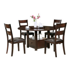 """Steve Silver Furniture - Steve Silver Gibson 7-Piece Drop-Leaf Dining Room Set with Ladderback Chairs - A marriage of form and function, the Gibson Dining Collection, offers a clean, contemporary style with extra storage space options. The versatile Gibson 2-in-1 drop leaf table features a storage base that can be used as a 30"""" table or a 36"""" counter table with the addition of the 6 inch tapered legs. The beautiful table measures 42"""" square or 59"""" round with the drop leaf opened. Surround with any of the matching Gibson chairs, and you have a set that is much more than a place to dine."""