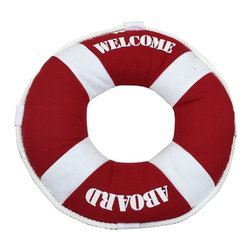 Handcrafted Nautical Decor - Red Welcome Aboard Pillow 14'' - This charming Red Ahoy Mates Pillow 14'' combines the     atmosphere  of beach decor along with a life ring as a beach throw pillow. This  beach pillow is the perfect accent to spruce up  your beach home. Place  this lifering pillow in   your beach living room to show   guests  your affinity for  beach  decor.--Dimensions: 14'Long x 3'Wide x 14'High----    Handcrafted by our master artisans--    Pillow clearly displays the words ''Ahoy Mates''--    Perfect nautical red color used to accent beach theme throw pillow--    Wonderful beach throw pillow - in the shape of a lifering and is wrapped in rope--    ----