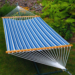 Algoma Net Company, Div. of Gleason Co - 11' Fabric Hammock - Tropical Palm Stripe Blue Print - Invite a friend to read, bird watch, or just enjoy your own space for a while in this beautiful fabric hammock. It is crafted from weather resistant spun polyester fabric and has a non-tilt sculptured pocket design. It's the perfect place to enjoy a quiet afternoon. Made in the USA.