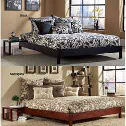Fashion Bed Group - Murray Queen-size Platform Bed - Perfect for those with small living spaces and a minimalistic decor,this compact queen-size platform bed was designed for use without a bulky headboard. Available in black or mahogany,this bed gives a contemporary feel to any bedroom.