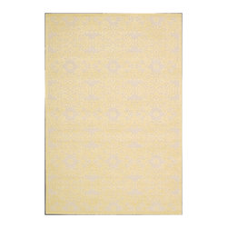 """Nourison - Nourison Graphic Illusions GIL07 2'3"""" x 3'9"""" Yellow Area Rug 13140 - An affluent two-tone color palette of gold and ivory sends the fascination factor of a blossom and vine design into the stratosphere. With plush high-low loop pile and sumptuous hand carving, this alluring area rug is as pleasing to the touch as it is to the eye."""
