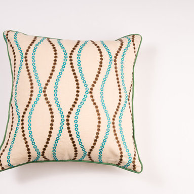 "Pillows - Luxurious colors and wave infused pattern give this 20""X20"" Linen pillow a touch of decedence."
