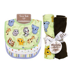 """Trend Lab - Bouquet Set - Chibi Zoo/Riley Tiger - Bib & Burp Cloth - Keep messes to a minimum with this stylish Chibi Zoo/Riley Tiger Bib and Burp Cloth Set by Trend Lab. Set includes three bibs and four burp cloths each with fun, modern printed cotton on the front and terry on the back. Bib patterns include: one baby zoo animal scatter print in gray stone, sky blue, caramel, buttercup, chocolate and white on a sage background with sage trim; one mini square print in sage, gray stone, sky blue, caramel and buttercup on a white background with white trim; and one variegated stripe print in gray stone, sky blue, caramel, buttercup, chocolate and white with powder blue trim. Burp cloth patterns include: one baby zoo animal scatter print in gray stone, sky blue, caramel, buttercup, chocolate and white on a sage background; one mini square print in sage, gray stone, sky blue, caramel and buttercup on a white background; one with solid sage velour; and one with solid chocolate brown ultrasuede. Each bib measures 9"""" x 12"""" with Velcro closure and each burp cloth measures 10"""" x 13"""". Bib and Burp Cloth Set coordinates with the Chibi Zoo and Riley Tiger collections by Trend Lab."""