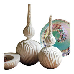 Global Views - Magura Vase- Large - This elegant snow colored ceramic magura vase is perfect for any room.