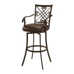 "Pastel - Savannah Swivel Barstool SV-227 - 26"" - The Savannah Barstool with arms has a simple yet elegant design that is perfect for any decor. An ideal way to add a classic flair to any dining or entertaining area in your home. This swivel barstool features a quality steel frame with sturdy legs and foot rest finished in Autumn Rust. The padded seat is upholstered in Ford Brown offering comfort and style. Available in 26"" counter or 30"" bar height."