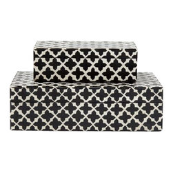 Black and White Resin Box, Small - The bold black and white Moorish design of these handcrafted resin boxes offers a graphic, versatile look that flawlessly fits into any style of room.