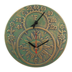 Verdigris Finish Terracotta Sun Face Clock / Thermometer - This beautiful, distressed finish verdigris terracotta quartz clock also contains a thermometer. It`s a great accent for anyone with a rustic, old-timey decor. The thermometer reads in Fahrenheit degrees, and the clock runs on a single AA battery. It`s great for sun rooms, patios and decks. It measures 12 inches in diameter, and is suitable for indoor or outdoor use. NOTE: The thermometer temperature can be adjusted by turning the knob on the back. Simply place the thermometer in an area where known temperature can be determined for 90 minutes if the pointer is shifting due to shipping.