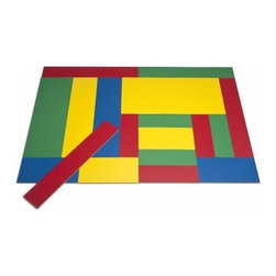 Whitney Brothers Rectangle Shape Puzzleation - Kids may not know what the word tessellation means, but the Whitney Brothers Rectangle Shape Puzzleation will get their brains thinking of geometry while having fun. This set includes four different-sized rectangles that create a landscape of color. This set includes a variety of red, green, yellow, and blue high-pressure melamine rectangles. They're GreenGuard certified and include a lifetime manufacturer's warranty.About Whitney BrothersSince 1904, Whitney Brothers has been using classic cabinetmaking techniques to produce safe and sturdy educational toys. Now, they're also a leader in developing versatile, innovative furniture and storage systems for schools, daycare centers, and private homes. When they design and manufacture their educational toys and furniture, Whitney Brothers uses the finest hardwoods and veneers and traditional joinery methods for extra strength. Edges and corners are always rounded smoothly and finished by hand. All of their glues, paints, and finishes are nontoxic and easy to clean.