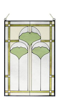"Maclin Studio - Arts and Crafts Ginkgo Stained Glass Panel - The striking new 20.5"" Arts and Crafts Ginkgo stained glass panel is hand made in the USA with color palette of Greens, Olives, Creams and Frosted Clear. Ht: 20.5"". W: 14"". On this glass panel, enamel colors are individually applied to a single sheet of tempered glass giving each panel unique aspects of both color and texture. The glass is then framed with a patinated metal came and comes complete with mounting chain."