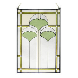 """Maclin Studio - Arts and Crafts Ginkgo Stained Glass Panel - The striking new 20.5"""" Arts and Crafts Ginkgo stained glass panel is hand made in the USA with color palette of Greens, Olives, Creams and Frosted Clear. Ht: 20.5"""". W: 14"""". On this glass panel, enamel colors are individually applied to a single sheet of tempered glass giving each panel unique aspects of both color and texture. The glass is then framed with a patinated metal came and comes complete with mounting chain."""