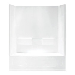 Trumbull Industries Inc - Sterling Performa 71040118 60W x 77.75H in. Bathtub Shower Combo with Above Floo - Shop for Tubs from Hayneedle.com! Quite simply the Sterling Performa 71040118 60W x 77.75H in. Bathtub Shower Combo with Above-floor drain and Age-in-place backers has it all! This is the same stunning model as the 71040110 but with a factory-installed three-inch apron extension for an above-floor drain which means you won't need to cut into the sub-floor or install extra fire or pest protection. It also comes with every safety precaution you will ever need! Many home accidents occur in the bathroom that's why this bathtub and shower combo features a pebbled floor and age-in-place backers for later grab bar installation. But not only is it a convenient to install and incredibly safe option it is a spacious bath with three high walls that offers a relaxing experience for individuals of all shapes and sizes. The Sterling name has a reputation for superior craftsmanship at every level and the solid Vikrell construction of this unit is no exception. The compression-molded Vikrell is a Sterling exclusive that provides strength durability and a lasting beauty. Customize your purchase with an almond biscuit or white finish that's coated in a high-gloss that creates a smooth shiny surface which is easy to clean. This CSA-certified bathtub measures 60W x 29D x 77.75H inches and is ADA-adaptable when installed per the requirements of the Accessibility Guidelines Section 607 Bathtubs. Choose from either the left-hand or right-hand drainage hole model depending on your home setup.Product Specifications:Overall Height: 77.75 inchesOverall Width: 60 inchesOverall Depth: 29 inchesHeight (Back Panel): 77.75 inchesWidth (Back Panel): 60 inchesThickness (Back Panel): 1 inchHeight (Side Panel): 77.75 inchesWidth (Side Panel): 29 inchesThickness (Side Panel): 1 inchBase Shape: Oval in rectangleInstallation Type: AlcoveNumber of Thresholds 1Drain Placement: Left or rightAbout SterlingEstablished in 1907 and quickly recognized as a leading manufacturer of faucets and brassware Sterling has been known for their diversity of products and industry-leading designs for over a century. In 1984 Sterling was acquired by Kohler Co. to create a mid-priced full-line plumbing brand and allow Kohler the opportunity to sell their products in retail stores. Over the years Kohler quickly began acquiring other companies to help enhance the Sterling line of products that was quickly growing into the likes of stainless steel sinks compressed fiberglass bathtubs and enclosures and vitreous china products. With that said Kohler was able to take a modestly sized faucet company and turn it into a successful full-line brand. Today Sterling is a brand of Kohler co. and their diversity in products craftsmanship and innovation over a broad range of price points makes them a recognized leader in kitchen and bath design.
