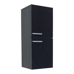 """Fresca - Black Bathroom Linen Side Cabinet, Black - This great side cabinet comes with a Black finish.  It features 2 storage areas with soft closing doors.  Dimensions: 12.63""""W x 12""""D x 27.5""""H; Features: 2 Large Storage Areas w/ Soft Closing Doors; Finish: Black; Hardware: Chrome; Assembly: Fully Assembled"""