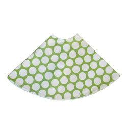"5 Surry Lane - Green Large Polka Dot Holiday Tree Skirt - Designer Holiday Tree Skirt.  54"" Round.  Fully lined."