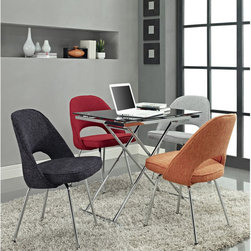 Modway - Cordelia Dining Chairs Set of 4 - Participate in renewed growth and actualization with the Cordelia Side Chair. Sit comfortably as an aspirational back and up-surging arms compliment a dual-tone tweed fabric cushion. Sleek chrome legs solidify the progress as unlocked potentials are established with ease.