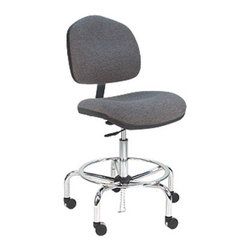 Bench Pro - Bench Pro Deluxe Ergonomic ESD Anti Static Fabric Wide Chair - WCT-DF-GREYHOUND - Shop for Benches from Hayneedle.com! The Bench Pro Deluxe Ergonomic ESD Anti-Static Fabric Wide Chair is inches larger than its cousin and features heavy-duty 60mm BIG casters. It's made with 250 000 double-rub static dissipative fabric where most competitive chairs only use 1000 000 single-rub fabric. It meets or exceeds ANSI/ESDA S20.20 GSA and the ESD Association requirements for 5 years. Users get a 21- to 29-inch seat height range an extra-large 17.5- x 21.5-inch seat and a choice of back height angle and seat depth adjustment.About BenchPro BenchPro is based in the U.S. and dedicated to provide American workers and companies with the highest-quality workbenches and chairs available. Their products feature the highest weight capacities in the business and make good use of heavy-duty materials and brand-name materials like Formica. With a wide range of specialized equipment for an equally wide range of professional manufacturing fields there is a BenchPro product that will help you.