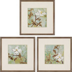 Paragon Decor - White Trellis Set of 3 Artwork - Soothing turquoise background juxtaposes with white blossoms.