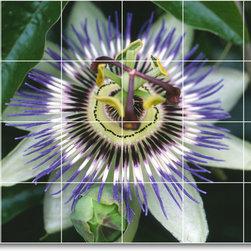 Picture-Tiles, LLC - Flower Picture Mural Tile F240 - * MURAL SIZE: 36x48 inch tile mural using (12) 12x12 ceramic tiles-satin finish.