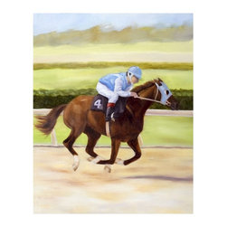 """Trademark Global - Giclee Print on Canvas of Horse of Sport II b - Giclee on canvas. Ready to Hang Wall Art. Professionally mounted on a lightweight wooden frame. 36 in. W x 48 in. H x 1. 5 in. depthGiclee (jee-clay) is an advanced printmaking process for creating high quality fine art reproductions. The attainable excellence that Giclee printmaking affords makes the reproduction virtually indistinguishable from the original artwork. The result is wide acceptance of Giclee by galleries, museums, and private collectors.Now you can experience all the passion and spirit of Michelle Moate's atmospheric artwork. """"Horse of Sport II"""" will be a dashing accent to any home or office decor.Born in Pensacola, Florida in 1970, Ellen King's (now known as Michelle Moate) artistic talent began to reveal itself in the form of drawing at an early age. She studied art and psychology at Wesleyan College in Macon, and later at Oglethorpe University in Atlanta. From there her interests turned toward computer art forms, which led her to attend the Art Institute of Atlanta and the Atlanta College of Art. After studying mostly computer animation, her need to express herself through paint and charcoal intensified. She began painting for the art market in 1997, and before her return to Florida, she gained notoriety within the Atlanta area as a premier local artist. She was also nominated for national recognition through the Academy of Fine Art Foundation's fine arts award program in 2002. She has consistently donated art for various charities, and has attended art shows throughout the southeast, as well as Art Expo New York in 1998, 1999, and 2002.Ellen's work evokes a mood of warmth and passion through the colors of her palette. From horses to wine, her art demonstrates her own personal connection with the subjects. Her overall style is impressionistic, and sometimes a few contemporary mediums are added to enliven the compositions and give them more pizazz. Ellen states: """"I took on the role """