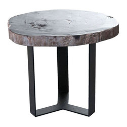 Pre-owned Black Petrified Wood Side Table I - Oo la la! This is a one-of-a-kind,  side table with a petrified wood top from Indonesia. Perfect for Contemporary and Industrial spaces.