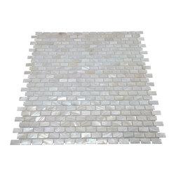 Stone Tile Mosaics - Mother of Pearl Mini Brick Oyster White Backsplash Mosaic Shell Tile - Premium Grade Mother of Pearl Sea Shell  mosaic tile for floor and wall use.