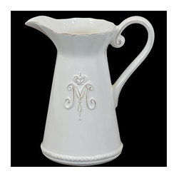 Urban Trends Collection - 9 in. White Ceramic Pitcher - 8.5 in. W x 19 in. L x 9 in. H