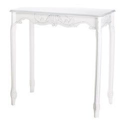 KOOLEKOO - White Scalloped Hall Table - Scalloped centerpiece and sinuous curves add amazing eye appeal to this elegantly proportioned hall table. Distressed white finish gives the appearance of a time-honored heirloom.
