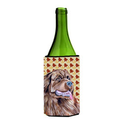 Caroline's Treasures - Newfoundland Fall Leaves Portrait Wine Bottle Koozie Hugger - Newfoundland Fall Leaves Portrait Wine Bottle Koozie Hugger Fits 750 ml. wine or other beverage bottles. Fits 24 oz. cans or pint bottles. Great collapsible koozie for large cans of beer, Energy Drinks or large Iced Tea beverages. Great to keep track of your beverage and add a bit of flair to a gathering. Wash the hugger in your washing machine. Design will not come off.