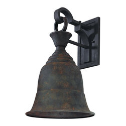 "Troy - Liberty Collection 19 3/4"" High Outdoor Wall Light - The Liberty Collection of outdoor lighting offers undeniable historical charm. The bell shape is strong and simple and the finish gives the appearance that these lights have been burning for many years. These fixtures are crafted with aluminum so they'll continue to serve you for many more. This outdoor wall light features a centennial rust finish. Design by Troy Lighting. Centennial rust finish. Aluminum construction. Dark Sky compliant. Takes one 100 watt bulb (not included). 19 3/4"" high. 13"" wide. Extends 14 1/4"" from the wall. Backplate is 9 1/4"" high 5 1/2"" wide. 5"" from mounting point to top of fixture.  Centennial rust finish.   Aluminum construction.   Dark Sky compliant.   Takes one 100 watt bulb (not included).   19 3/4"" high.   13"" wide.   Extends 14 1/4"" from the wall.   Backplate is 9 1/4"" high 5 1/2"" wide.   5"" from mounting point to top of fixture."