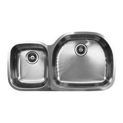 Ukinox - Ukinox D537.60.40.10R Under mount Kitchen Sink - The Ukinox D537.60.40.10R sink pairs our classic D-shaped bowl with one of our many smaller bowls to create a standard sized double-bowl undermount sink that meets your needs. With an oversized main sink and a task-specific sidekick, these standard and extra deep sinks are the mainstay in most glamorous kitchens. The large bowl is on the right side.