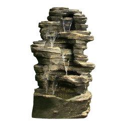 "Serenity Health & Home Decor - 39"" Rock Waterfall Fountain w/ LED Lights - Dimensions: 39""H x 21"" W x 16"" D; 44lbs"