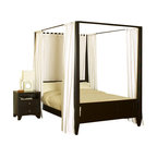 Lifestyle Solutions - Lifestyle Solutions Wilshire 5-Piece Canopy Bedroom Set in Cappuccino - King - The Wilshire bed is crafted from solid hardwoods and laminates with a veneer finish. This bed is a modern design and the classic elements of a four-poster bed blend to create this stunning addition to your bedroom. The delicate panels on the headboard and footboard add interest while maintaining the clean and crisp lines. Finished in dark Cappuccino finish, this bed is an impressive addition to any modern bedroom set.. Complimentary 500 Series casegoods complete the look. The 5PC group comes with bed, 2 nightstand, dresser and mirror. Other configurations available.