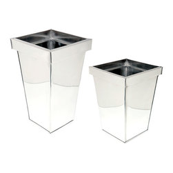 Stainless Steel Planters - Clean and contemporary, these thin rimmed planters are made of stainless steel that is perfectly hand polished for indoors or outdoors. Container gardening has never looked so sophisticated!