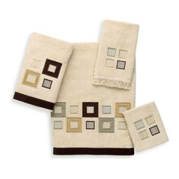 Avanti - Avanti Metropolis Bath Towel in Linen - The contemporary, chic style of the Metropolis Linen Collection will instantly update your bathroom. An array of stylish squares is showcased against a linen background with a brown fabric trim.
