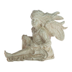 Casa de Arti - Fairy Sitting Down with Hair Flowing Figure Statue Classic Statuary Home Decor F - Beautiful sculpture of a Fairy, perfect for your garden or room decor at an incredible price.