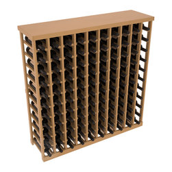 Wine Racks America® - Commercial Wine Rack RetailEDGE™ Standard Base with Solid Top, Oak Stain + Satin - The Standard Base with the solid top option holds up to 110 bottles. These racks are made to secure and safely store each bottle while providing adequate breathing room. With this solid Ponderosa pine top option, 13 beautiful stain & finish combination choices, these racks will be sure to shine in your wine retail setting. The solid top increases storage space for holding more bottles, cases, or sale advertisements. Additional tops are also available and can be interchanged with ease. Increase your bottom line today with RetailEDGE Series ™.