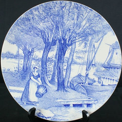 Boch - Consigned Antique Blue Delft Plate Washerwoman - Product Details