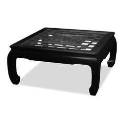 China Furniture and Arts - Rosewood Square Coffee Table w/Longevity Emblem - The intricate pattern of Chinese window panels has long been an artistic form in Chinese decorative art. Completely hand made of solid rosewood, an open carving of a longevity symbol panel is carefully inserted into this coffee table to act as a focal point in the composition. Hand applied classic black ebony finish. Comes with a beveled glass top for your convenience. It is a functional and aesthetically pleasing piece for any living room or family room. Fully assembled.
