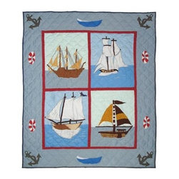 Patch Magic - Ships Ahoy Throw - 50 in. W x 60 in. L. 100% Cotton. Handmade, hand quilted. Machine washable. Line or flat dry only